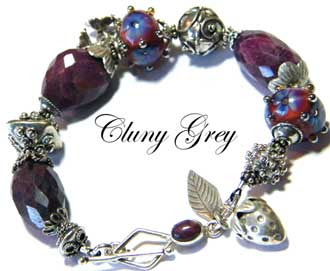 ruby bracelet with lampwork beads