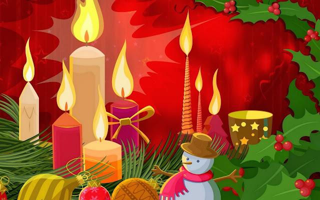 Kerst plaatje met kaarsen, sneeuwpop en hulst