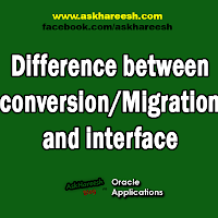 Difference between conversion/Migration and interface, www.askhareesh.com