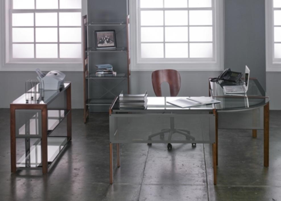 Glass Executive Computer Desk Set by Calico Designs