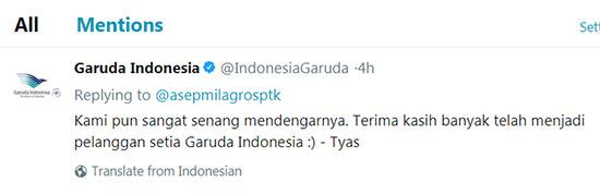 Tweet balasan Dari Garuda Indonesia