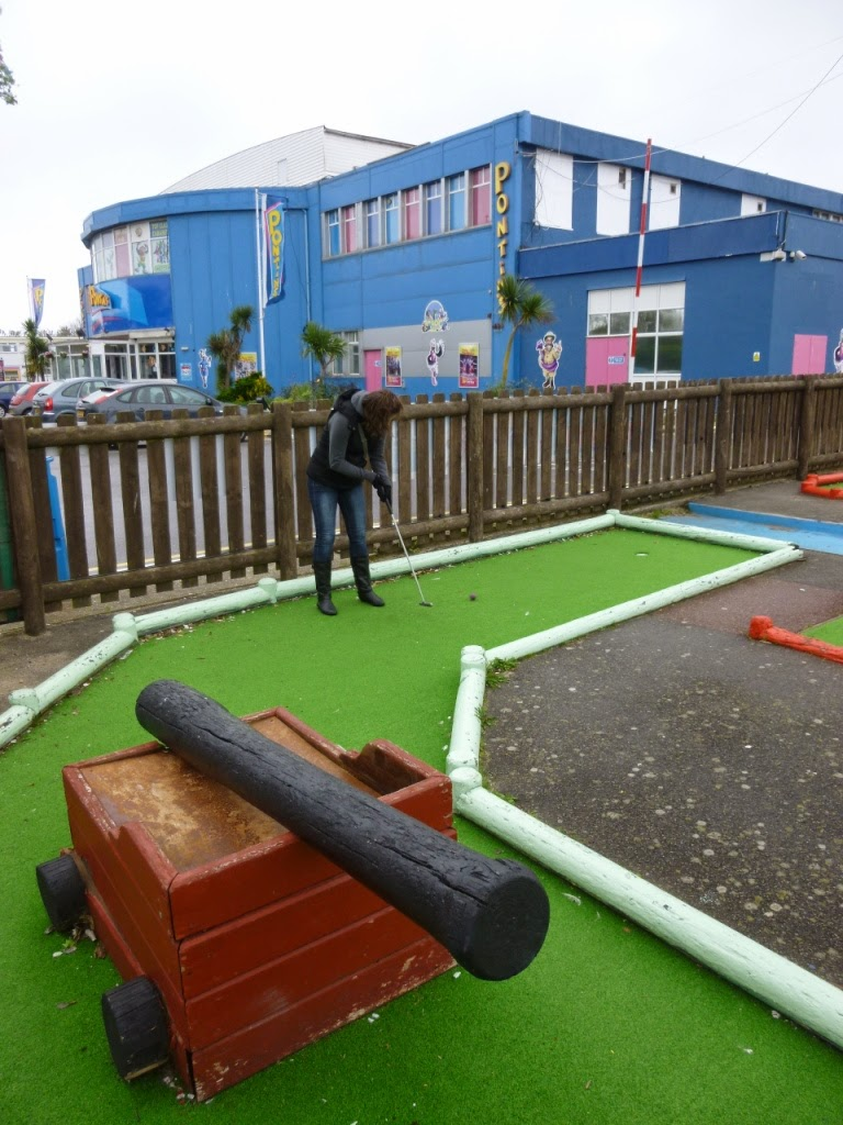 Emily Gottfried playing the Adventure Golf course at Pontins Camber Sands Holiday Park