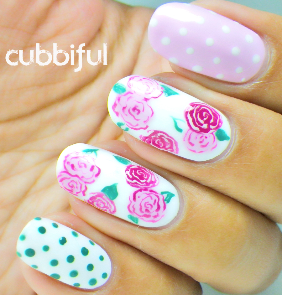 roses and polka dots nails