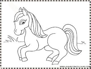 mewarnai gambar anak kuda