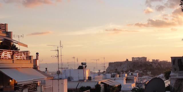 Vue sur l'Acropole, soleil couchant du mois d'octobre 2015