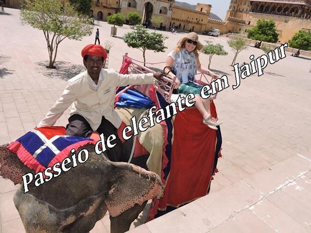 Passeio de elefante em Jaipur