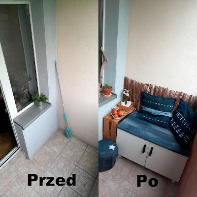 recykling metamorfoza balkonu przed i po