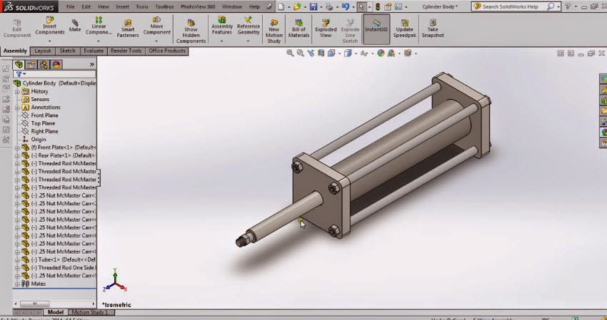 How To Create A Pneumatic Air Cylinder In Solidwork Tutorial
