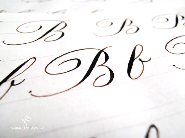 caligrafia copperplate como escribir la letra b alfabeto