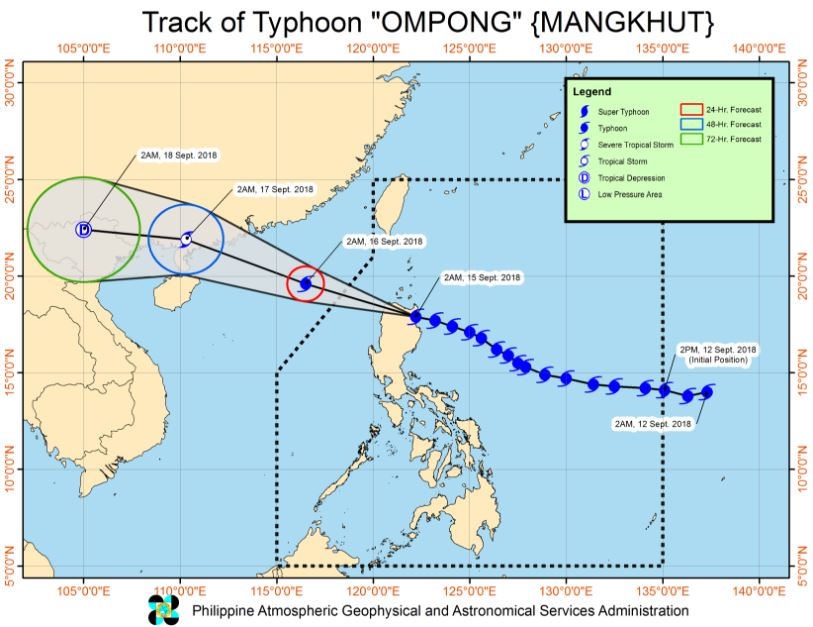 Typhoon Ompong PAGASA weather update September 15, 2018