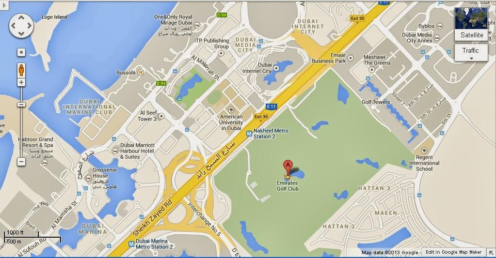 UAE Dubai Metro City Streets Hotels Airport Travel Map Info: Detail The Emirates Golf Club Dubai ...