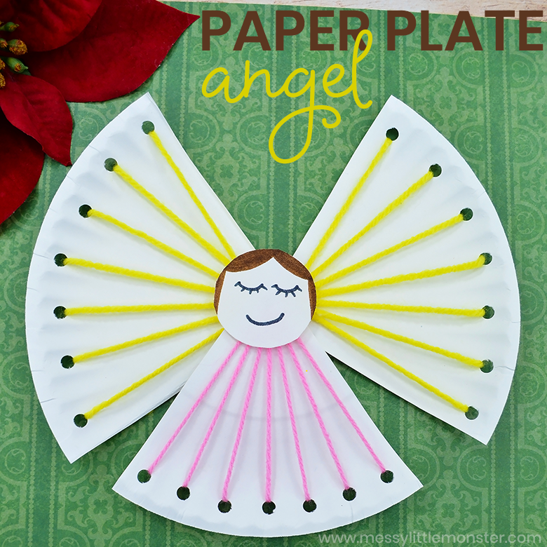 Paper Plate Angel Lacing Craft. Christmas fine motor crafts for kids.
