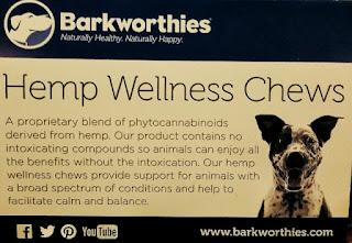 Hemp chews placard describes the benefits of high quality hemp chews.