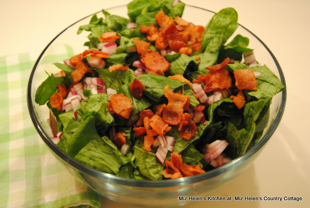 Wilted Greens Salad With Hot Bacon Vinaigrette at Miz Helen's Country Cottage