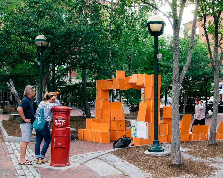"Portland, Maine USA August 2017 photo by Corey Templeton. The temporary public art piece ""Occupied Wall"" by Christian A. Prasch spotted in Post Office Park. Read about it here and stop by the park before September to see it in person."