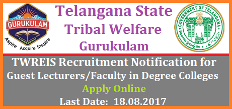 Guest Lecturers Vacancies in TWREIS Degree Residential Gurukulam Colleges Apply Online @www.tgtwgurukulam.telangana.gov.in TELANGANA TRIBAL WELFARE RESIDENTIAL EDUCATIONAL INSTITUTIONS SOCIETY, GURUKULAM: HYDERABAD guest-lecturers-faculty-vacancies-in-twries-tribal-welfare-degree-residential-gurukulam-apply-online-tgwgurukulam.telangana Selection of Guest Faculty / Part time Lecturer in TTW Residential Degree Colleges