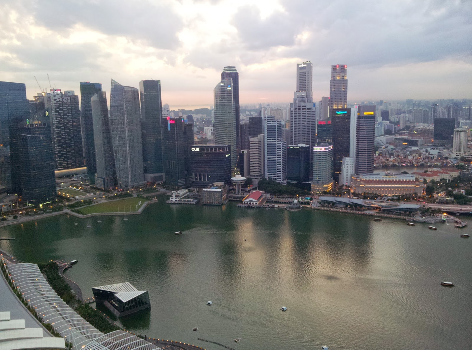 View of Singapore's city skyline from Skypark Marina Bay Sands