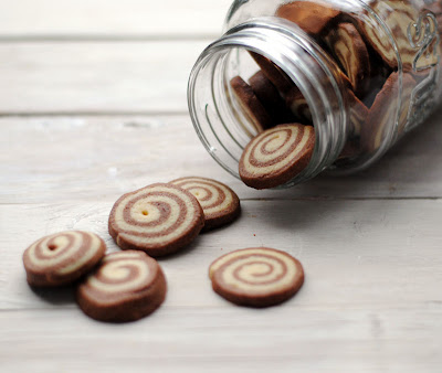 Chocolate and Vanilla Pinwheel Cookies