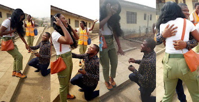 Nigerian guy travels from Lagos to Oyo state to propose to his corper girlfriend serving there
