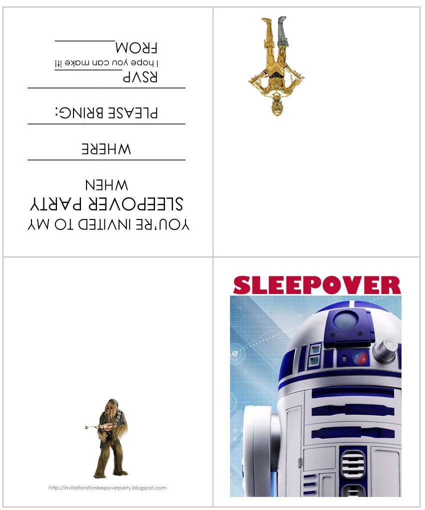 star wars sleepover invitations free printable