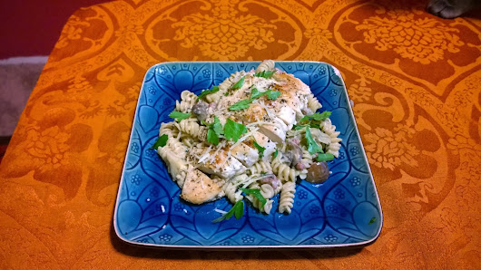Grilled Chicken and Pasta Carbonara with White Wine Sauce