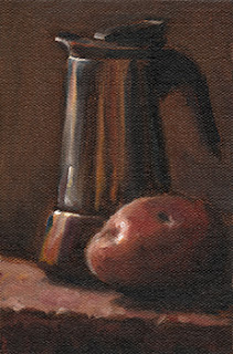 Still life oil painting of a Désirée potato beside a coffee percolator.