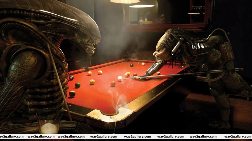 Alien and predator playing billiards wallpaper