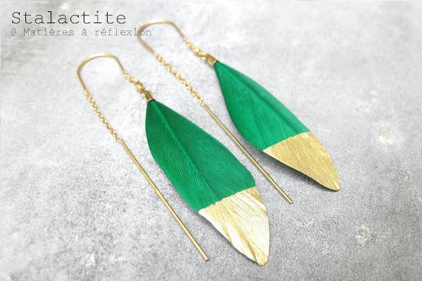 Boucles plumes vert vif Stalactite Bijoux