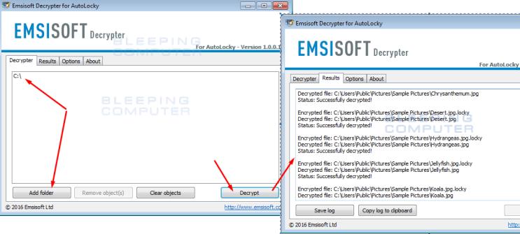 Дешифровщики файлов (дешифраторы, декриптеры): AutoLocky Decrypter