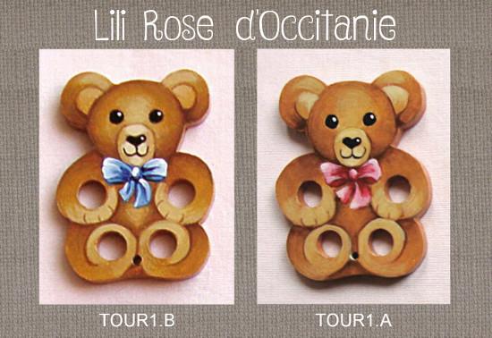 """2 tri-fils en bois peint """"Ours en peluche"""", avec ruban rose ou bleu, au choix. Broderie et point de croix"""