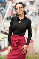 Pulover SunShine negru scurt casual tricotat cu decolteu rotunjit