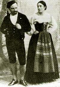 The tenor Roberto Stagno and soprano Gemma Bellincioni in the premiere of Cavalleria rusticana in Rome