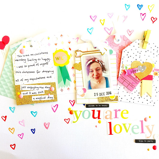 She Scraps: water colour hearts and die cut tags