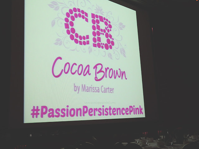 White background with pink text reading Cocoa Brown by Marissa Carter #PassionPersistencePink