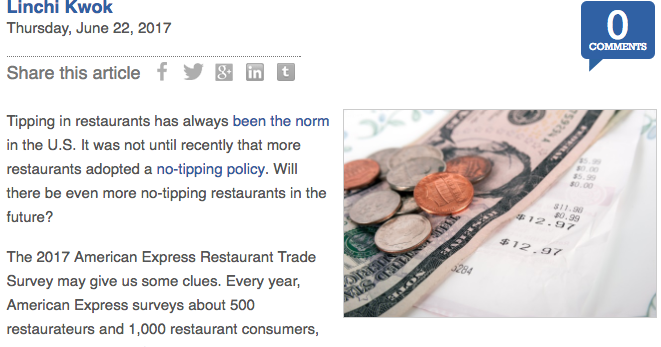 linchi kwok ph d more no tipping restaurants survey says