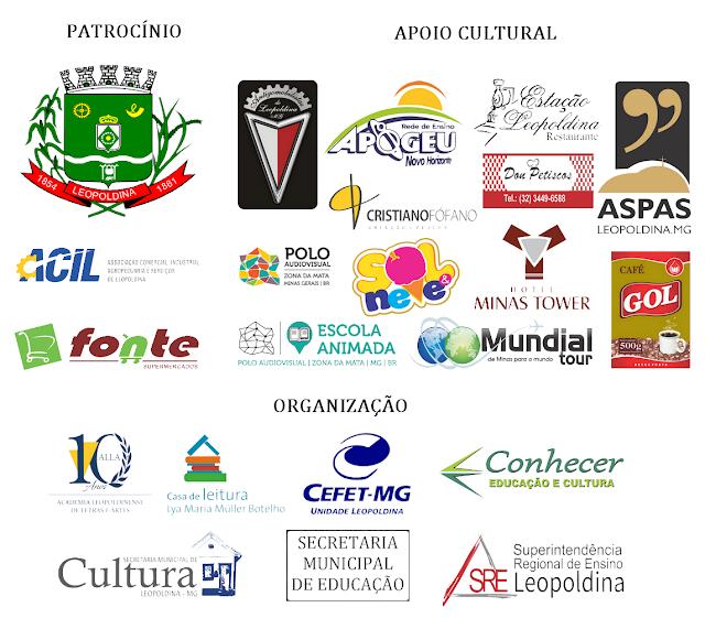 Patrocínio, Apoio Cultural e Organizadores da Festa Literária de Leopoldina