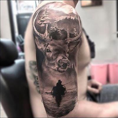 Sleeve deer skull tattoos for men