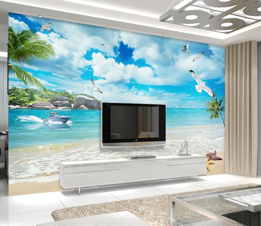 Tranh 3d dán tường phong cảnh biển bầu trời xanh mây trắng