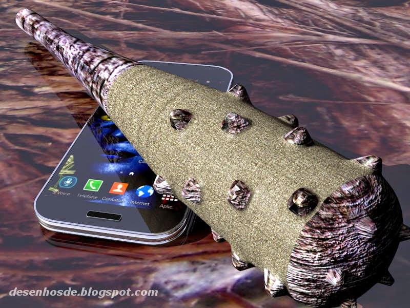 Tacape sobre um celular