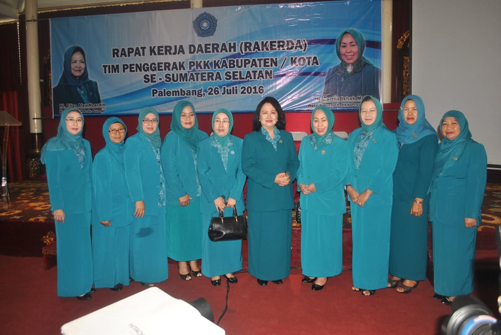 Rapat Kerja Daerah Rakerdah Tim Penggerak Pkk Kabupatenkota Se Sumatera Selatan Tanggal