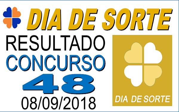 Resultado do Dia de Sorte concurso 48 de 08/09/2018 (Imagem: Informe Notícias)