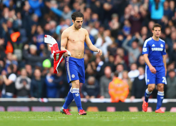 Ex-Arsenal player Cesc Fabregas of Chelsea looks on after during the Barclays Premier League match between Arsenal and Chelsea at Emirates Stadium on April 26, 2015 in London, England