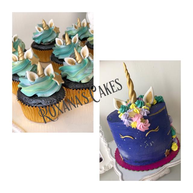 Unicorn Themed Birthday Cake And Cupcakes
