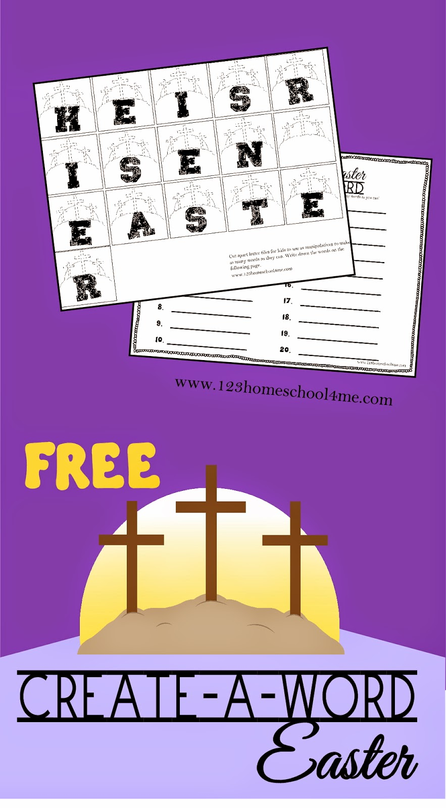 Easter Create A Word - this free printable Easter spelling activity for kid from Kindergarten, 1st grade, 2nd grade, 3rd grade, 4th grade, 5th grade, and 6th grade.
