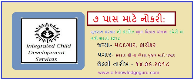 Integrated Child Development Scheme(ICDS) Dholka Recruitment for Anganwadi Worker & Helper Posts 2018     Posts Name & Educational Qualification:  Anganwadi Worker: Minimum 10th passed & above  Anganwadi Helper: Minimum 7th passed & above   Age Limit: 18 to 33 years   Selection Process: interview More Details: Please Read Official Advertisement.   How to Apply: Interested and Eligible candidate can apply along with relevant documents of certificate & compulsory marriage certificate send through R.P.A.D to given address in the advertisement. (More Details: Please Read Official Advertisement)   Last Date: Within 20 Days from the Date of Advertisement Published (Advertisement Published Date: 24-05-2018)  Click below link to download  Advertisement –1| Advertisement –2