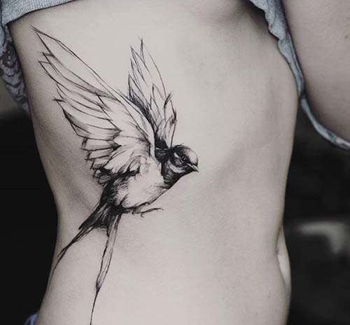 kuş dövme modelleri bel belly bird tattoo ideas