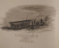 "A sketch of figures by a boat, captioned ""Campaign of 1863 in Va."""