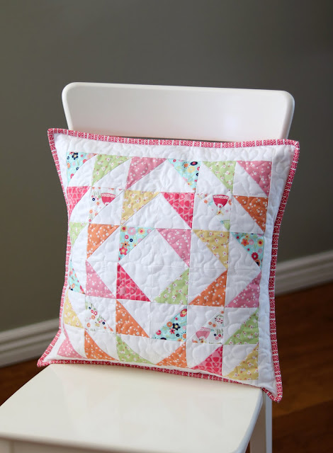 Quilted patchwork pillows made by Andy of A Bright Corner