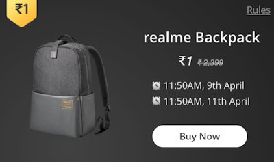 Buy Realme Tech backpack at just  Rs.1/- ( Live at 11:50 AM.,11th April 2019 )