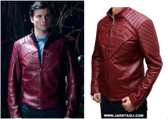 jaket kulit logo superman smallville warna marun